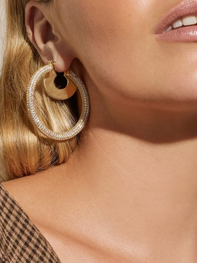 LUV AJ Pave Amalfi Hoops in Gold