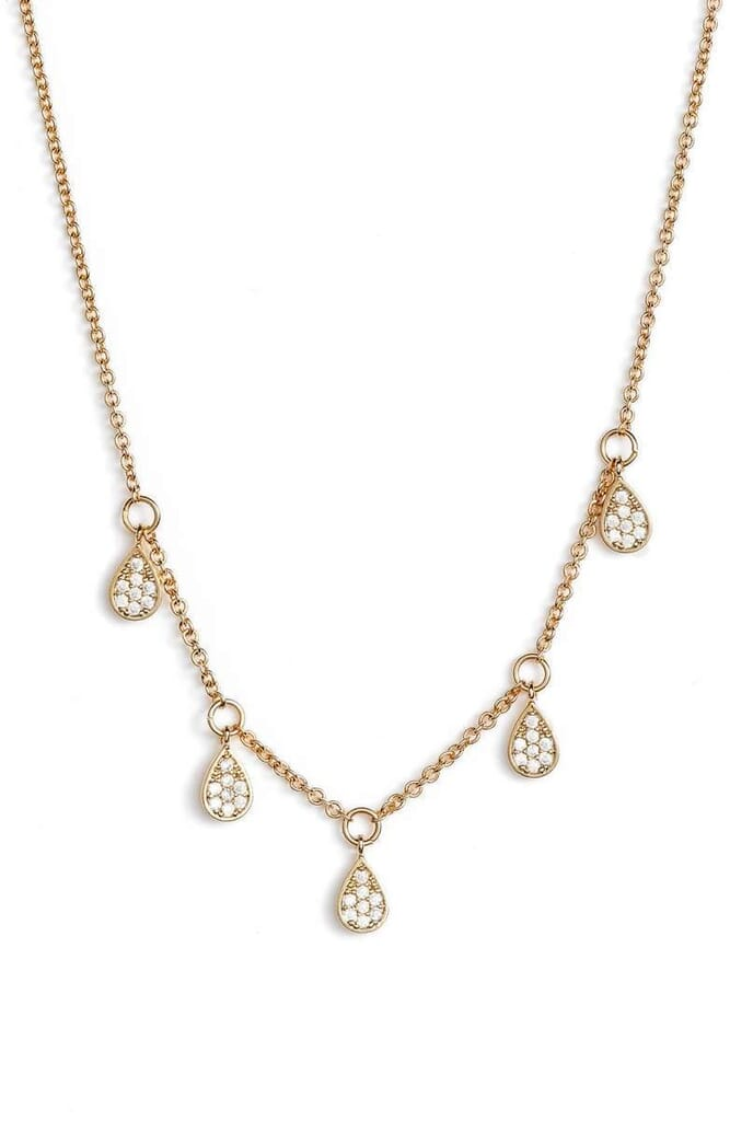 Jules Smith Pave Dewdrop Necklace in Gold And Crystal