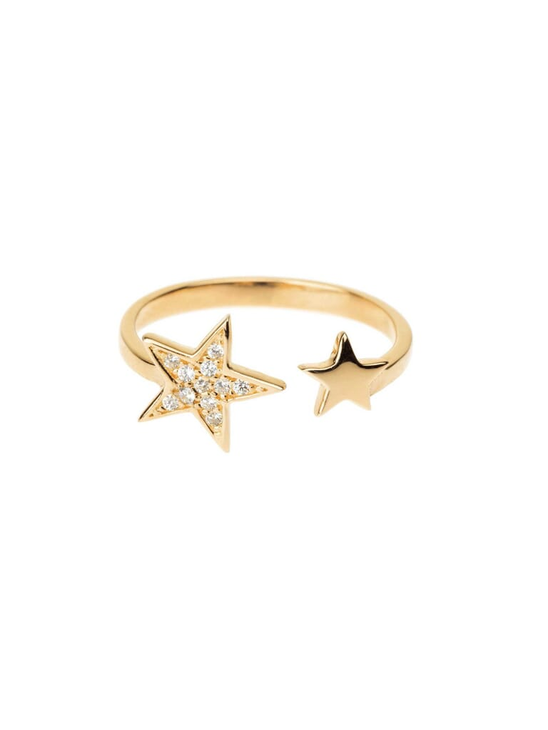 Shashi Pave Star Adjustable Ring in Gold