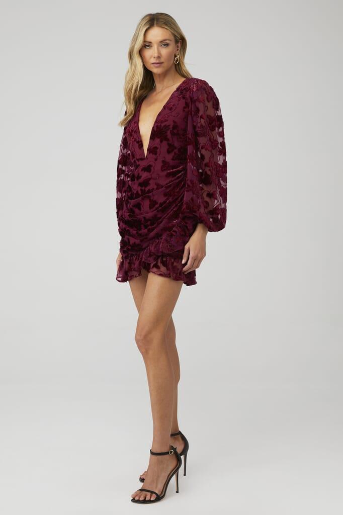 For Love & Lemons Penelope Mini Dress in Wine