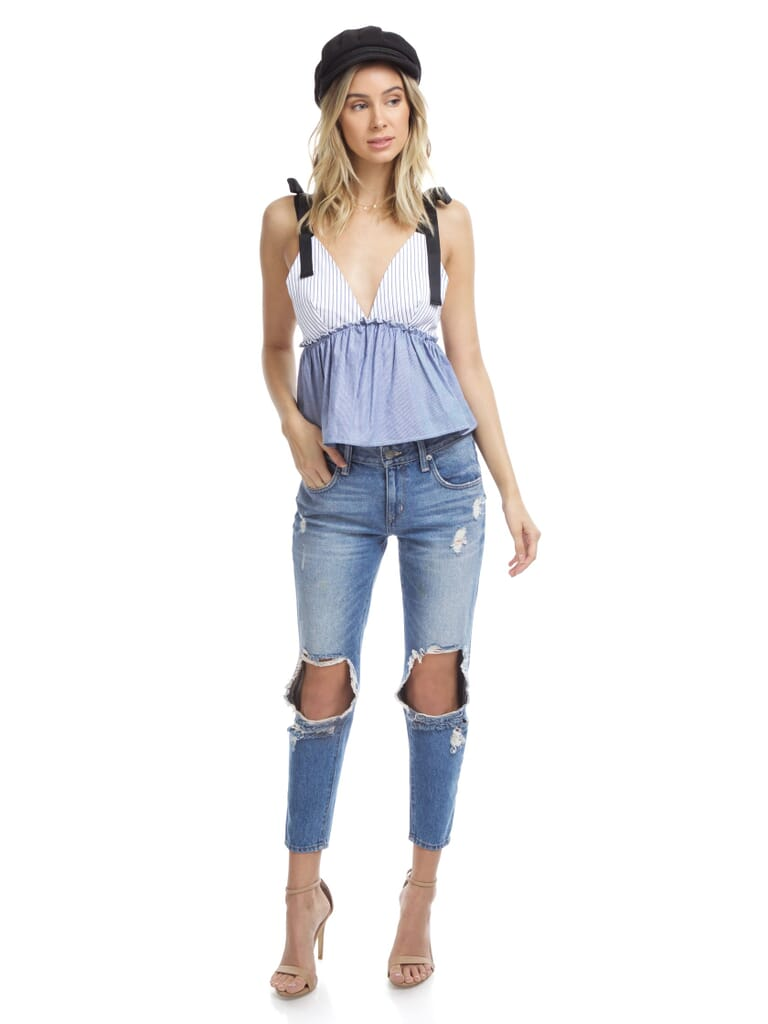 FashionPass Pippi Top in Blue And White