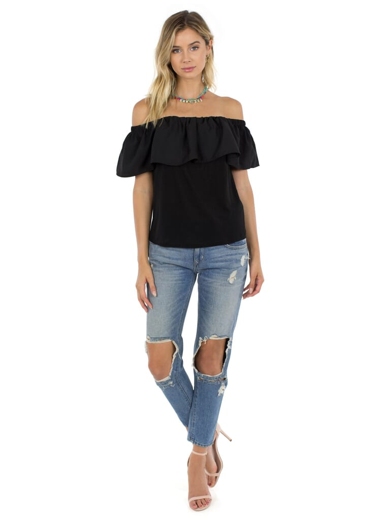 French Connection Polly Plains Off--Shoulder Top in Black