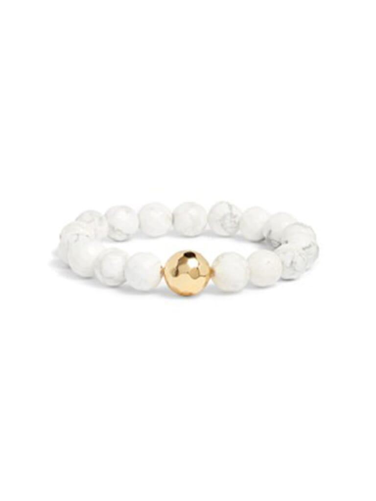 Gorjana Power Gemstone Howlite Statement Bracelet (Calming) in Howlite/Gold