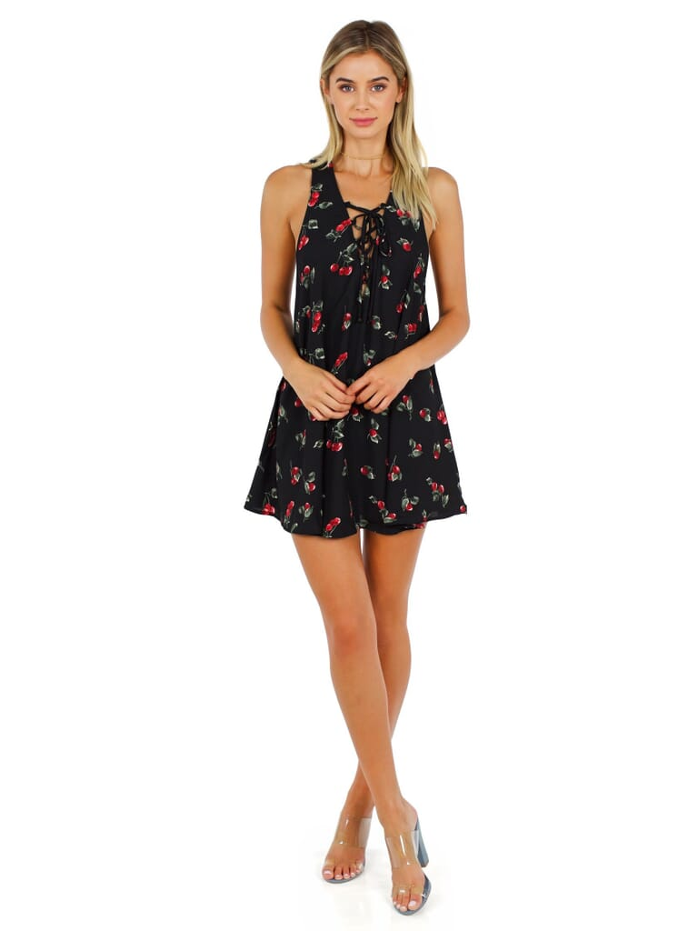 Show Me Your Mumu Rancho Mirage Lace Up Tunic Dress in Cherry Crepe
