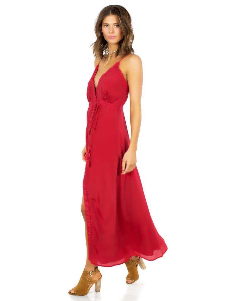 The Jetset Diaries Regla Midi Dress in Crimson