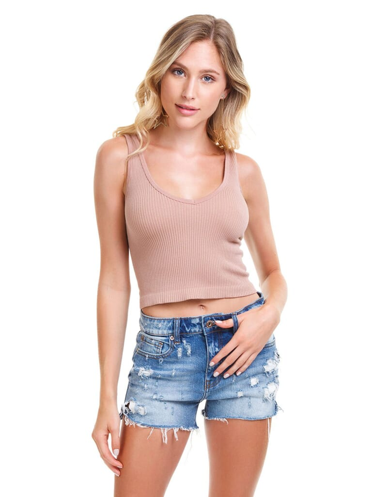 Free People Ribbed Cropped Tank Top in Nude