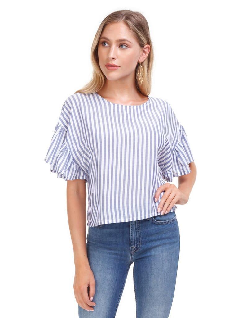 MINKPINK Road Trip Stripe Top in White/Blue Stripe