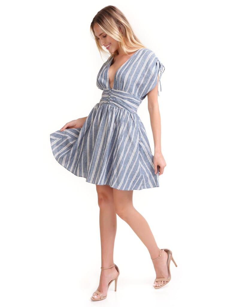 Free People Roll  Dice Striped Dress in Blue