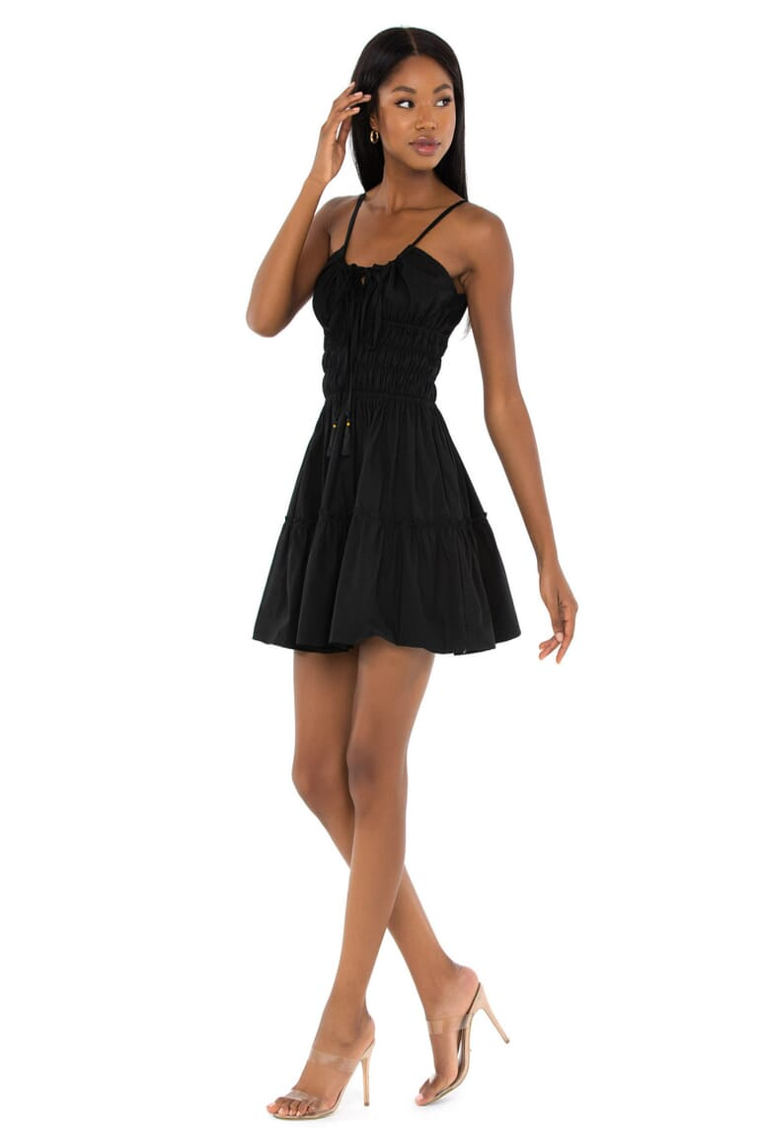 BEACHGOLD Rosa Mini Dress in Black