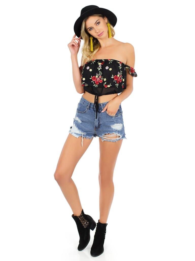 FashionPass Rose Crop Top in Black