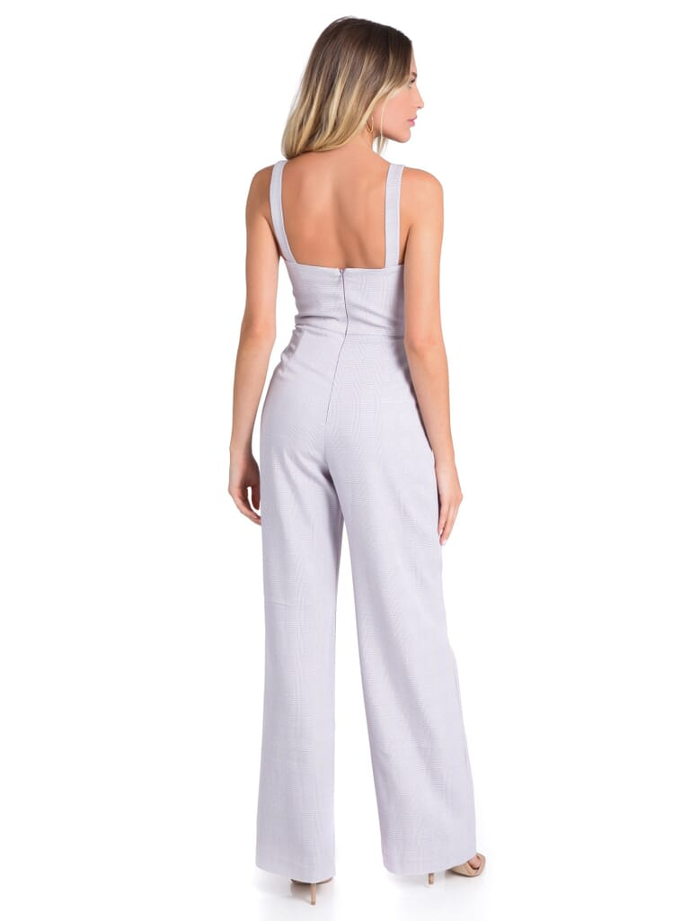 WAYF Roxy Glen Plaid Jumpsuit in Lacender Tweed
