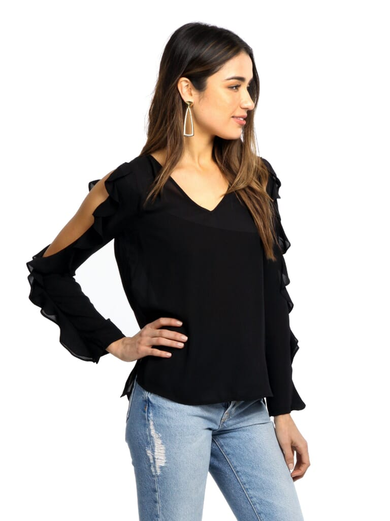 1.STATE Ruffle Cold Shoulder Top in Black