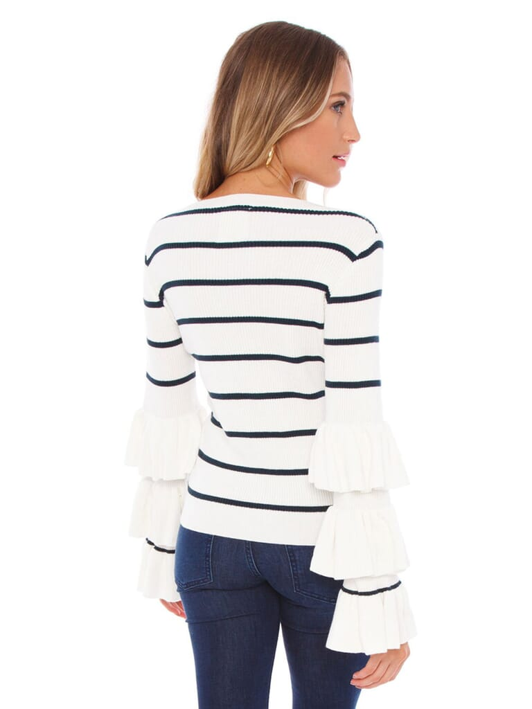 Chaser Ruffle Sleeve Striped Sweater in Cream/Navy
