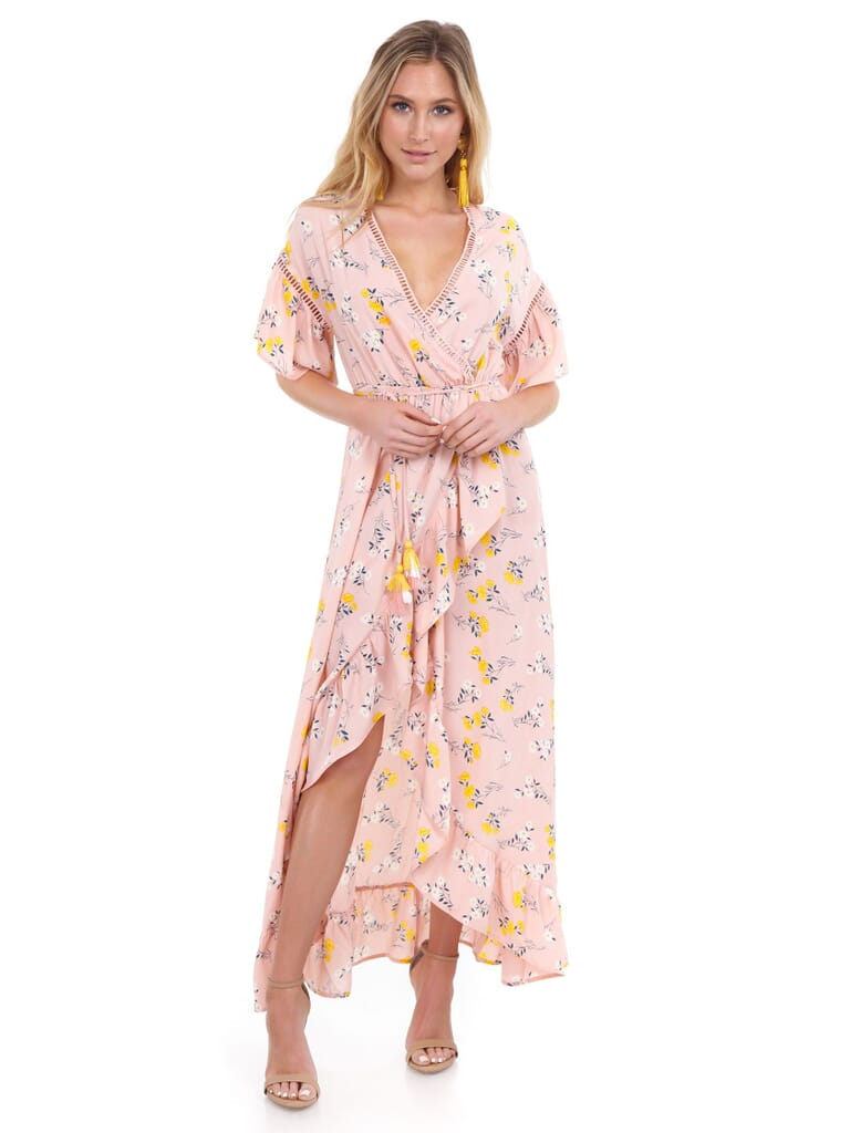 Moon River Ruffle Sleeve Wrap Dress in Pink Floral
