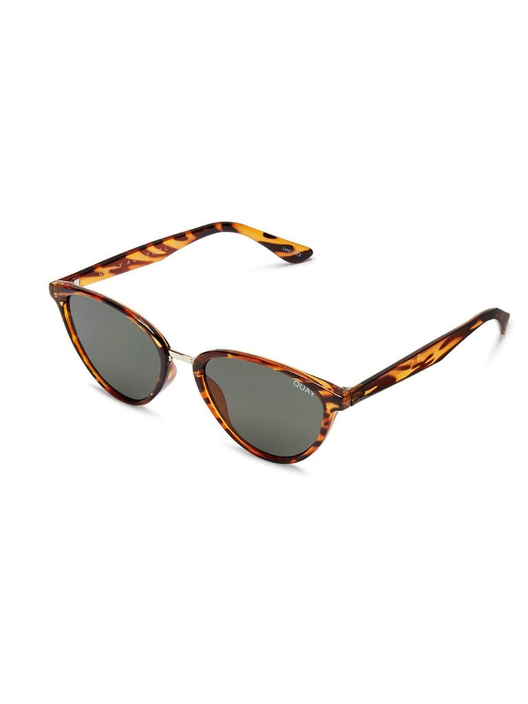Quay Australia Rumours 57mm Sunglasses in Tort/Green Lens