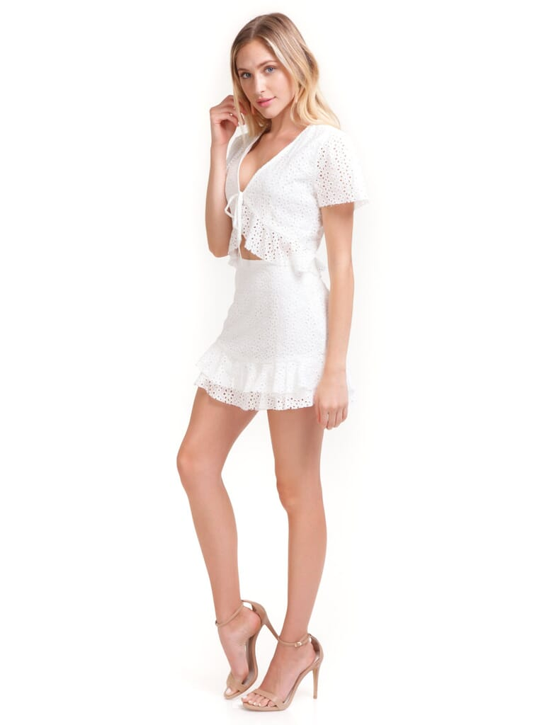 Cotton Candy Samantha Eyelet Two Piece Set in White
