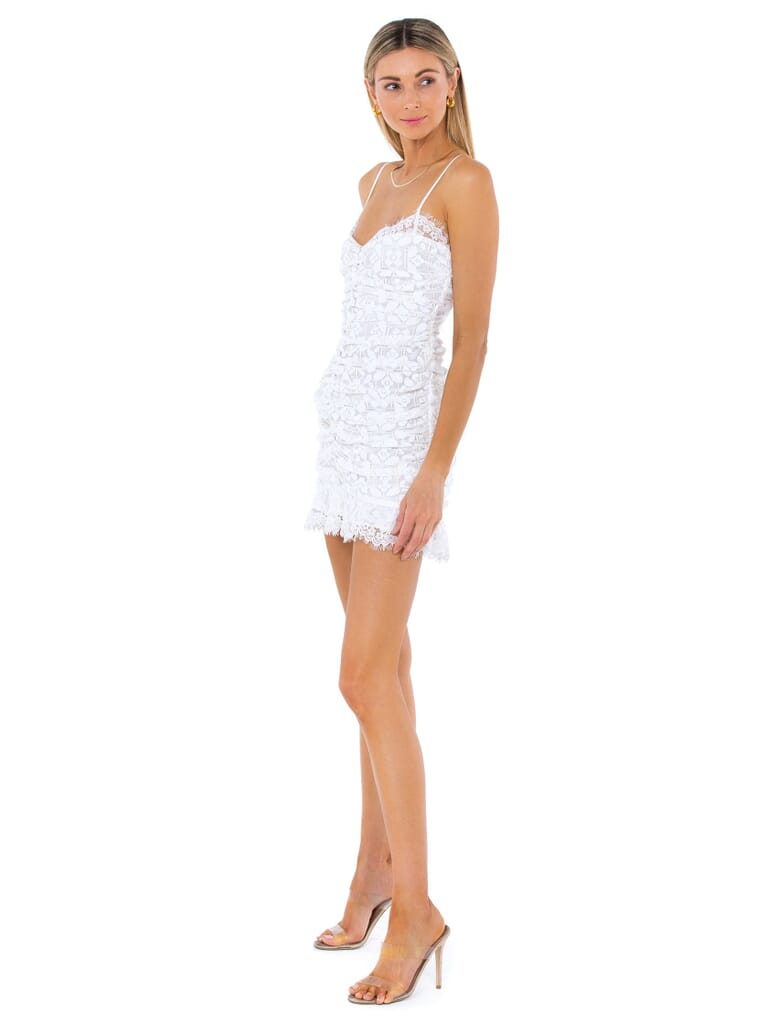 For Love & Lemons Samira Mini Dress in White