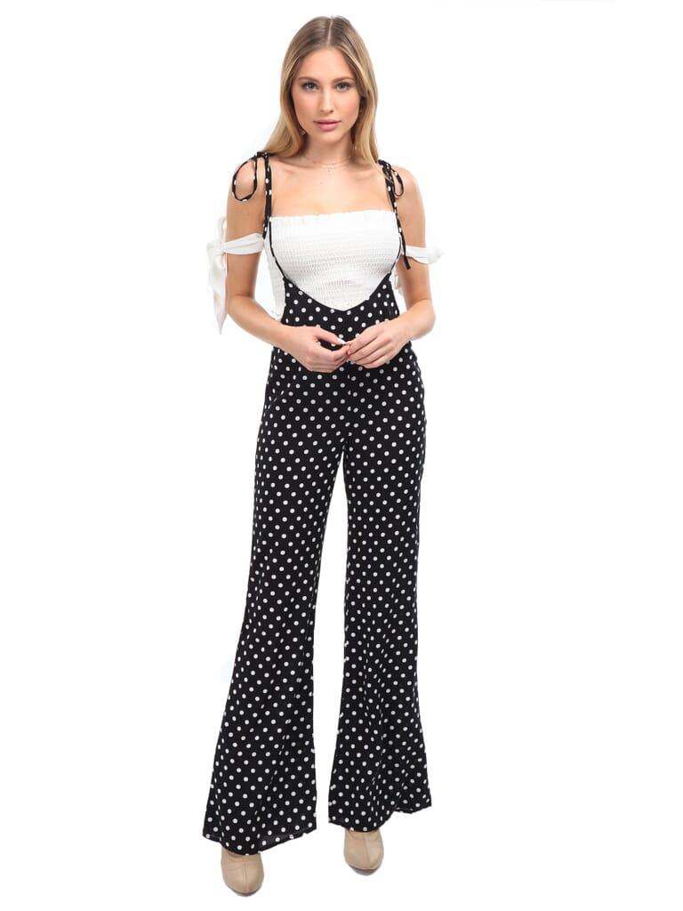 FashionPass Sasha Polka Dot Jumpsuit in Black/Polka Dot