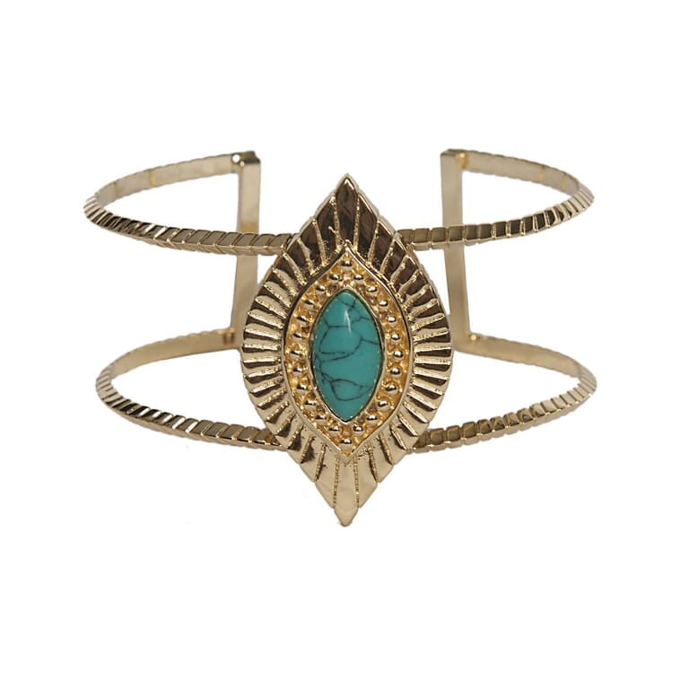 Ettika Sedona Selfie Cuff Turquoise And Gold in Gold/Turquoise