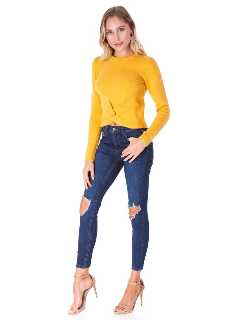 WAYF Sharona Twist Front Pullover in Golden
