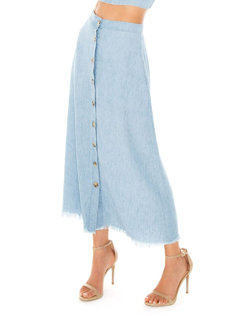 Show Me Your Mumu Sharon Skirt in Anchor Chambray