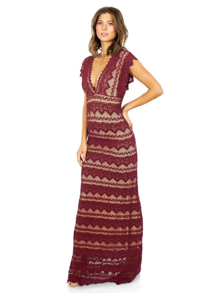Nightcap Clothing Sierra Lace Dress in Garnett