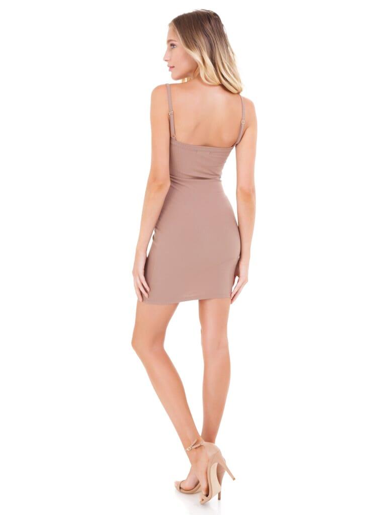 FashionPass Snap Button Tube Dress in Latte