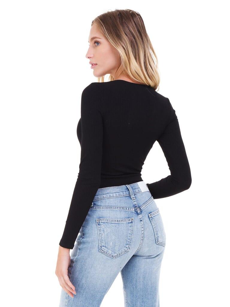 FashionPass Snap Button V-Neck Bodysuit in Black