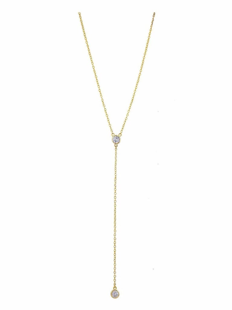 Shashi Solitaire Lariat Necklace in Gold