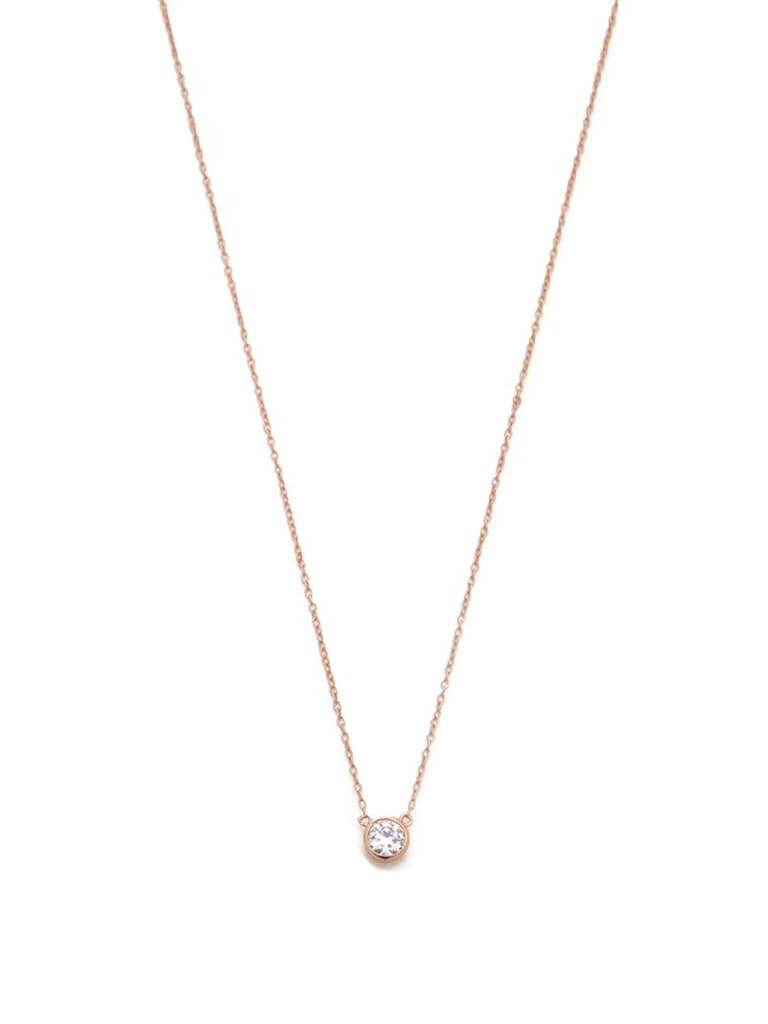 Shashi Solitaire Necklace in Rose Gold