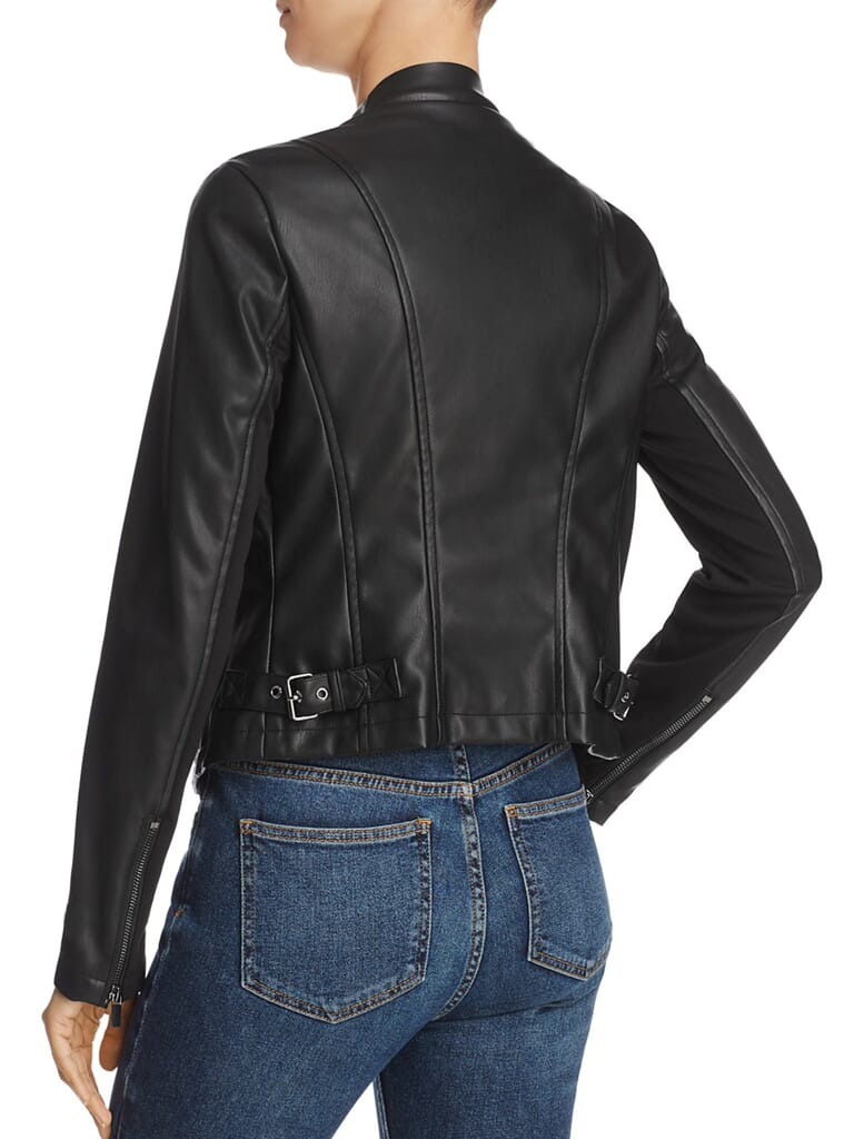 French Connection Stephanie Pu Faux Lear Jacket in Black