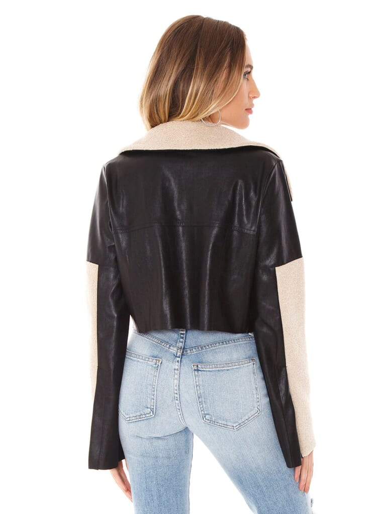 Line & Dot Stowe Sherling Contrast Jacket in Black