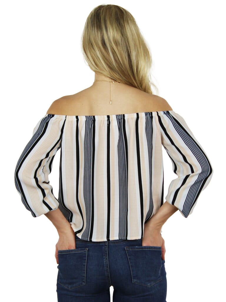 Lucca Couture Stripes Are  New Black Blouse in Stripes