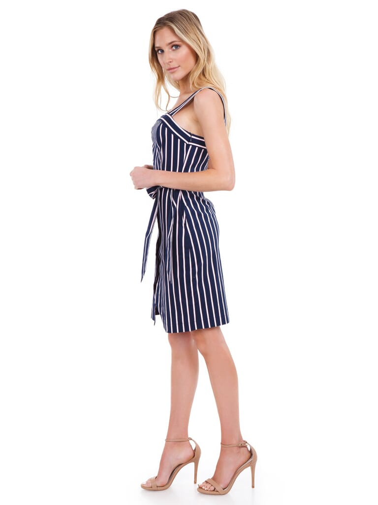 J.O.A. Stud Detail Overlap Dress in Navy Stripe