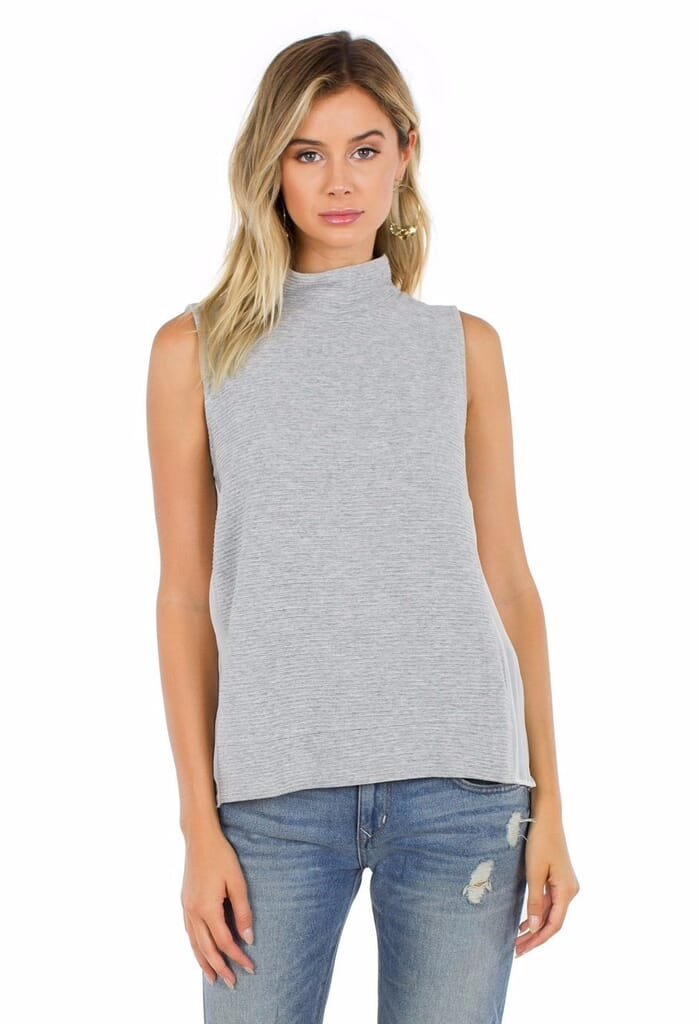 French Connection Sudan Sunray Mockneck Top in Grey