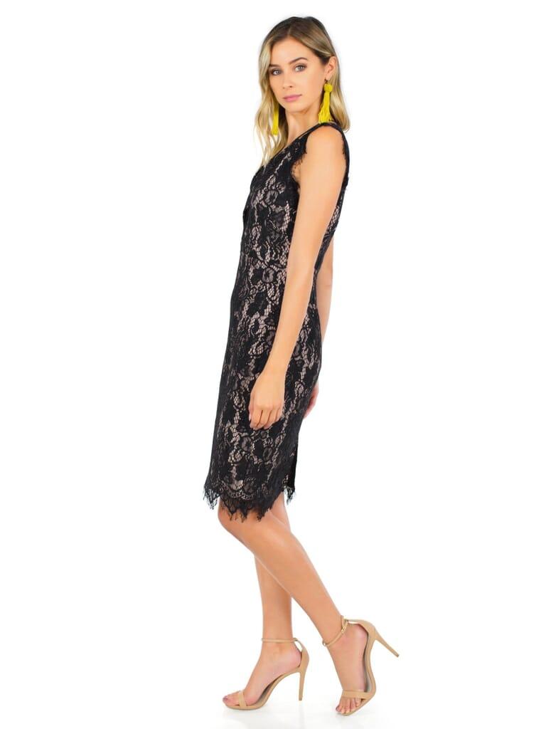 STYLESTALKER Sugar Pine Midi Dress in Noir