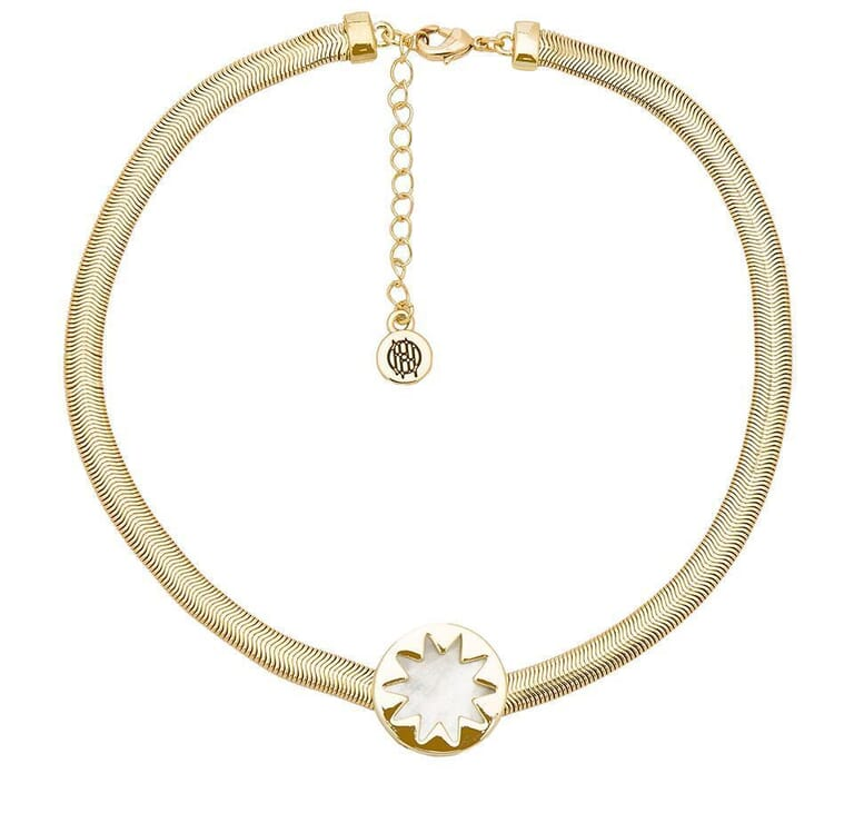 House of Harlow 1960 Sunburst Choker Necklace in Gold/Pearl