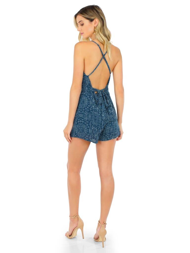 FashionPass Sunday Romper in Blue Algae