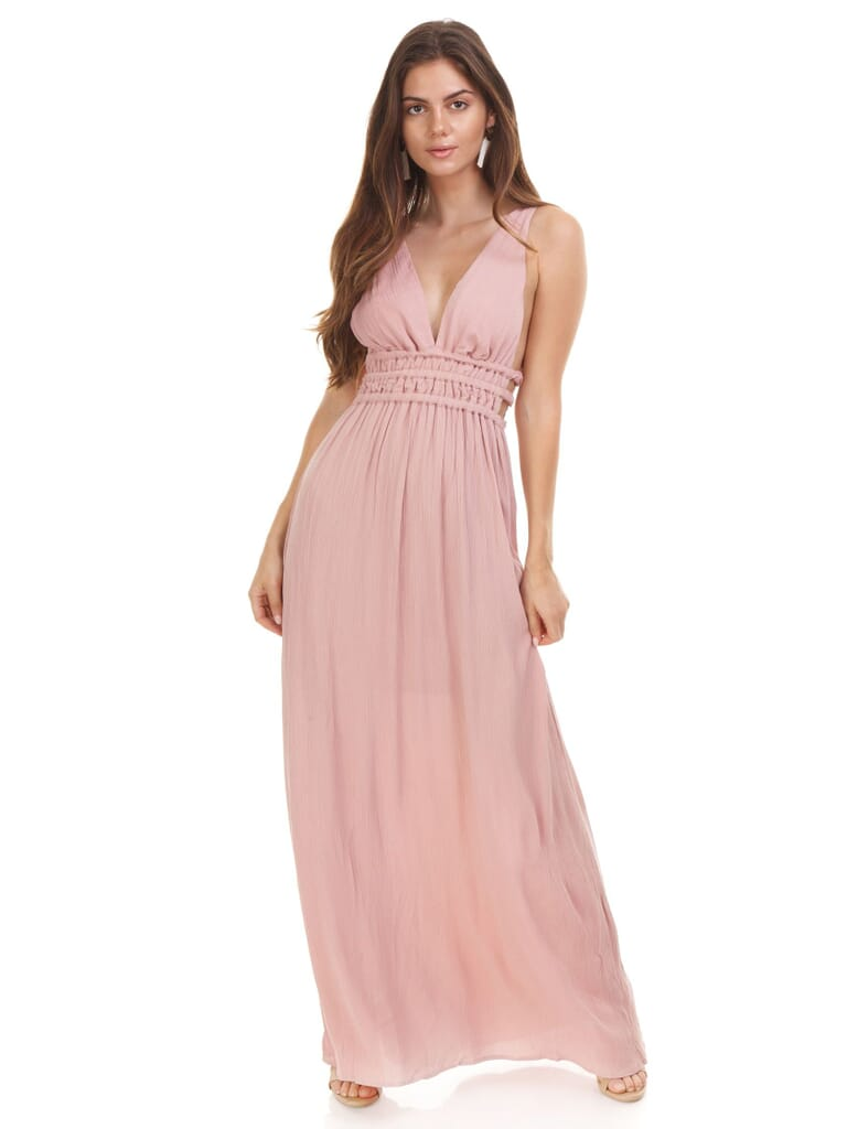 WAYF Surrey Plunging Cut Out Maxi Dress in Nude Rose