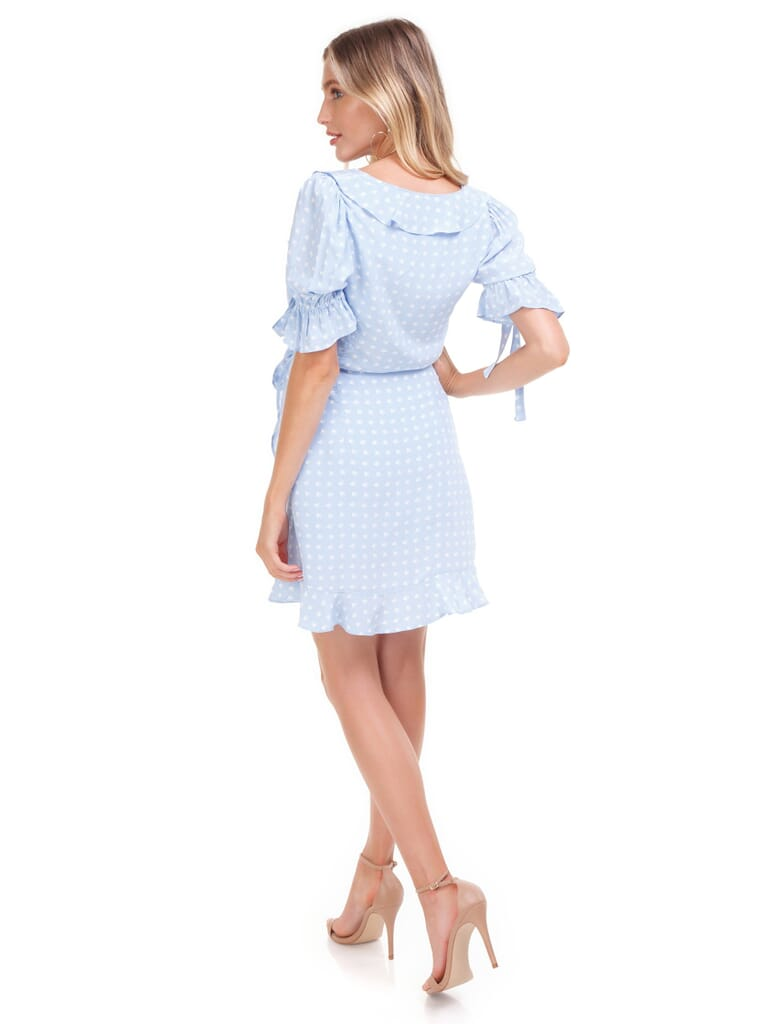 For Love & Lemons Sweeart Wrap Mini Dress in Periwinkle