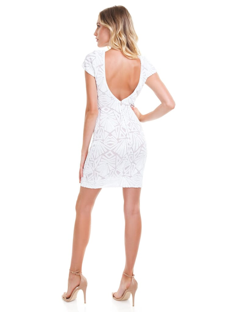 Dress the Population Tabitha Dress in White/Nude