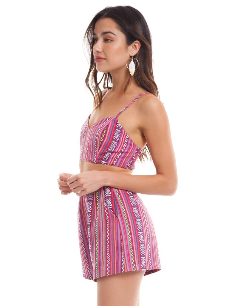 Show Me Your Mumu Tai Bandeau in PiñAta Pink Textile