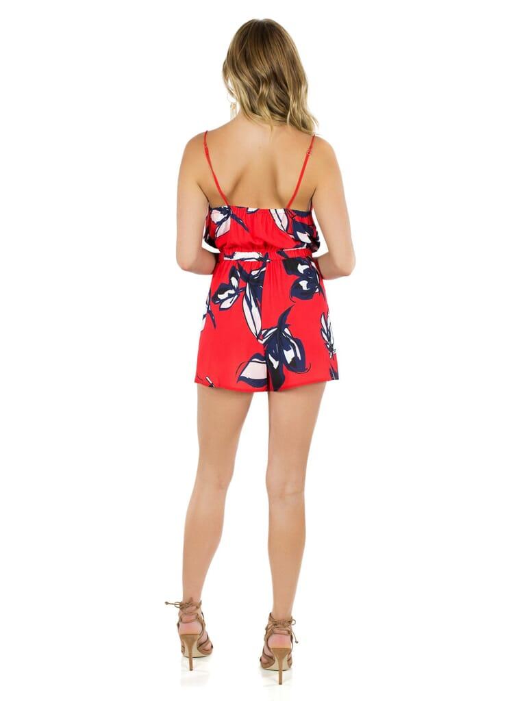 STYLESTALKER Take Me To  Tropics Romper in Red