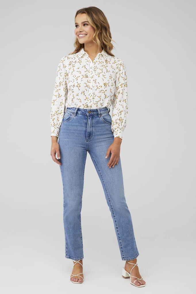 MINKPINK Teagan Puff Sleeve  Shirt in Multi