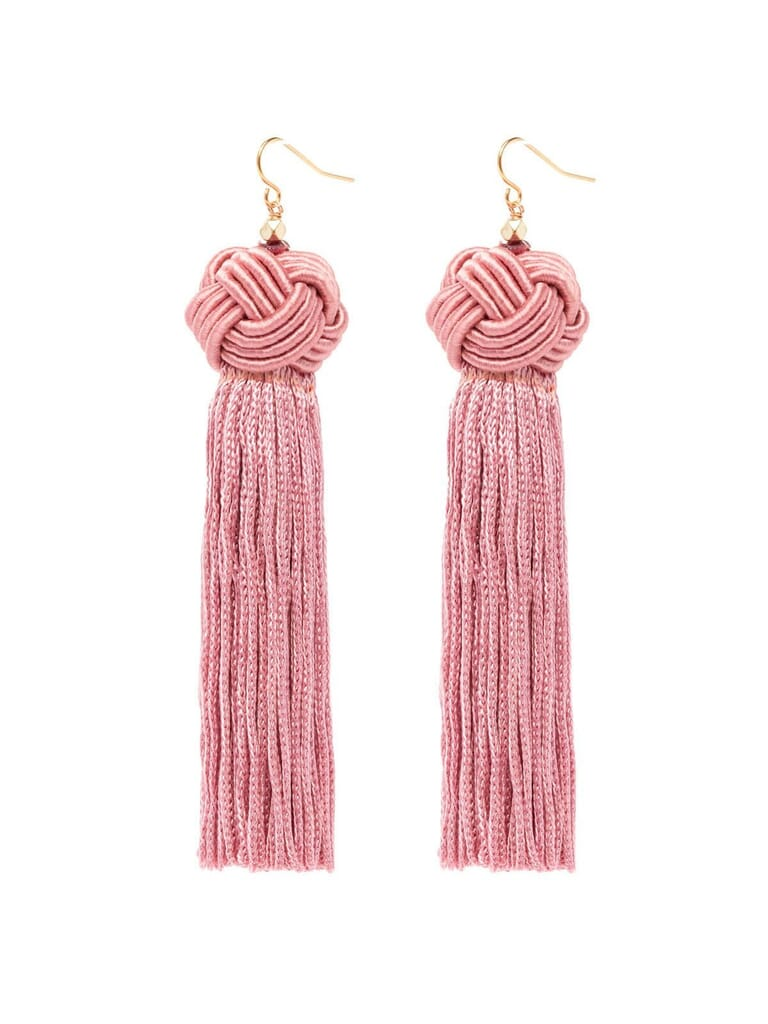 Vanessa Mooney  Astrid Knotted Tassel Earrings in Pink