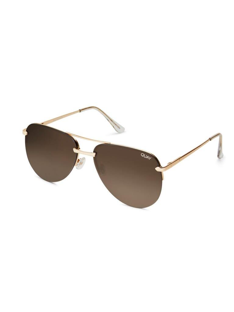 Quay Australia  Playa 64mm Aviator Sunglasses in Gold/Brown Lens