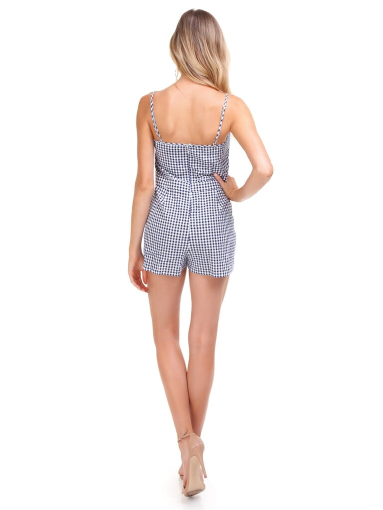 Blue Life Tied Up Romper in Navy Gingham