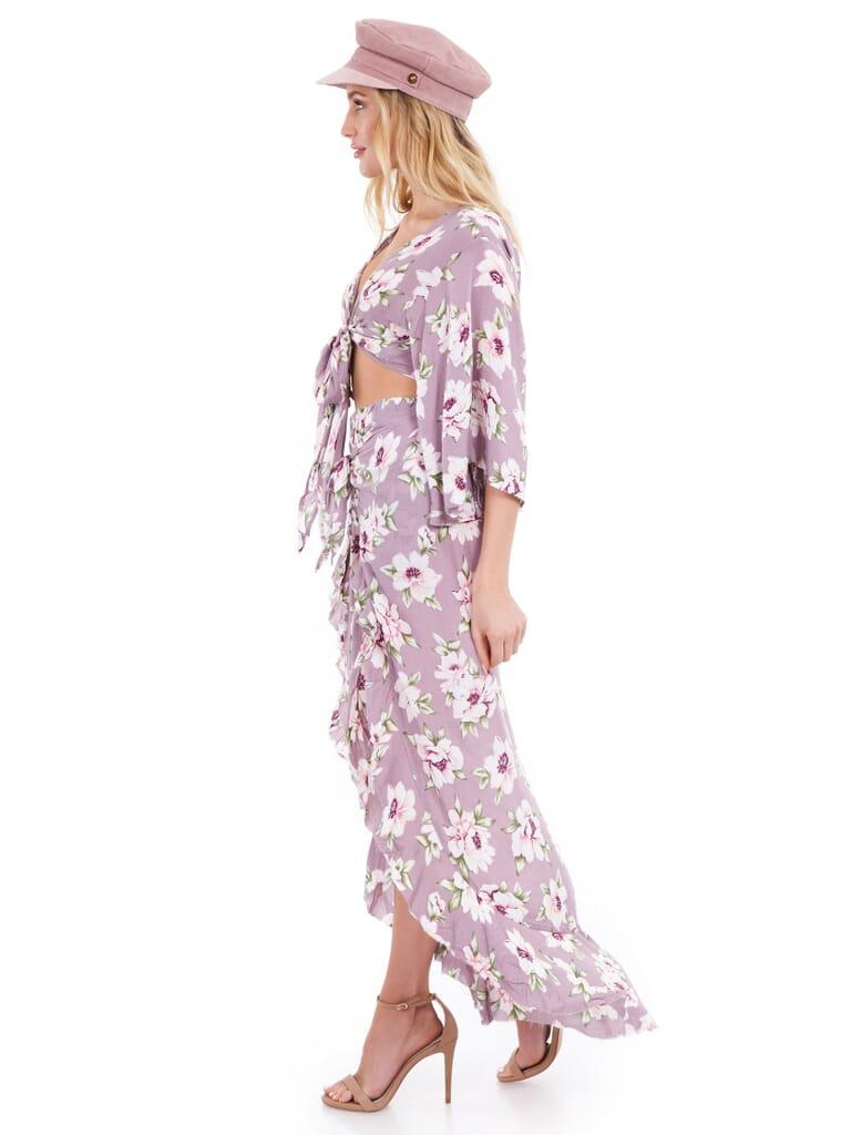 SURF GYPSY Tie Front Crop Top in Lilac