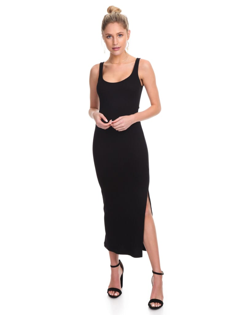 French Connection Tommy Rib Midi Dress in Black
