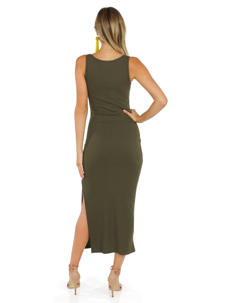 French Connection Tommy Rib Midi Dress in Military Green